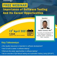 Webinar on the importance and career opportunities of software testing