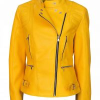 Women Elegant Yellow Leather Jacket