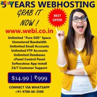 5 Years Unlimited SSD cPanel WebHosting Plan for Just ₹999
