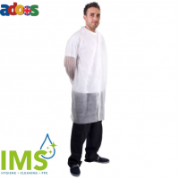 Disposable PPE - Visitors Coat With Velcro Non-Woven White