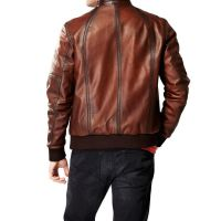 Ferret Antique Brown Classic Bomber Leather Jacket