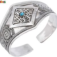 Sterling Silver Mandala with Turquoise and Filigree Cuff Bracelet