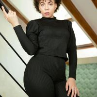 BLACK RIBBED PUFF SLEEVE TOP AND WIDE LEG TROUSERS LOUNGEWEAR SET