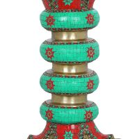 Brass Pedestal Decorated with Colorful Inlay work