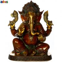 The Red-Hued Kshipra Ganapati Brass Sculpture