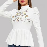 WHITE FLOWER EMBROIDERED RUFFLE LONG SLEEVES FASHIONABLE TOP